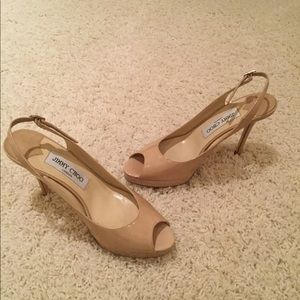 Jimmy Choo beige patent leather heels